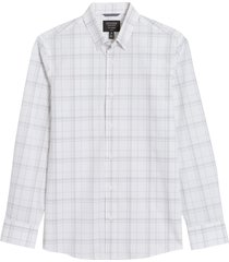 men's nordstrom tech-smart coolmax plaid performance button-up shirt, size x-large - white
