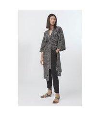 kimono de seda longo estampado est pois distorcido preto - u