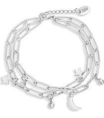 moon & star silvertone & cubic zirconia multi-strand bracelet