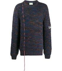 aries drawstring cord knit sweater - blue