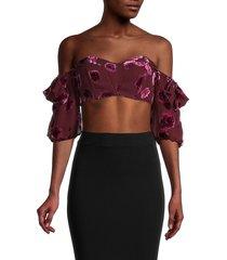 for love & lemons women's velvet floral off-the-shoulder silk-blend cropped top - pansy - size xl