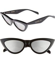 women's celine 56mm cat eye sunglasses - black/ silver flash