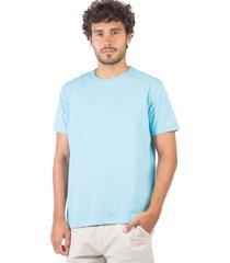 t-shirt básica de algodão comfort azul turquesa az tqs/gg - kanui