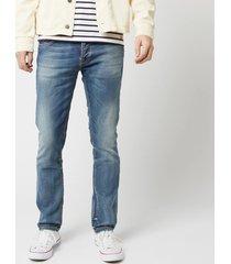 nudie jeans men's grim tim slim jeans - worn in broken - w36/l34 - blue