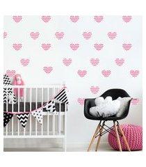 adesivo de parede quartinhos infantil coraçáo rosa chevron