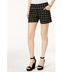i.n.c. plaid pull-on shorts in curvy, created for macy's