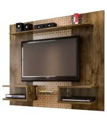 painel atlas p/ tv até 55 pol madeira rústica móveis bechara marrom