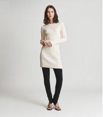 reiss ember - cotton cashmere blend mini dress in cream, womens, size xl