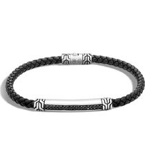 john hardy men's classic chain leather cord bracelet, size small in silver/leather at nordstrom