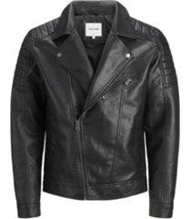 jack & jones men's faux leather biker jacket