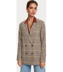 maison scotch 156909 double breasted longer length blazer in special check