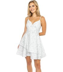 b darlin juniors' floral-lace asymmetrical-skirt dress