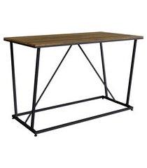 mesa de jantar industrial steel wood 130cm trevalla preto/amadeirado