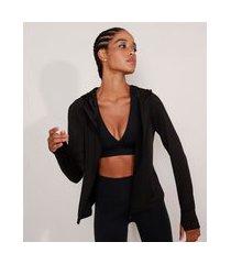 jaqueta esportiva ace com capuz e dedeira preta