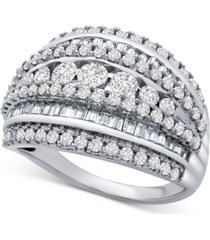 diamond multi-row ring (1-1/2 ct. t.w.) in sterling silver