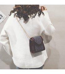 tracolla chic in pelle con paillettes pu borsa tracolla casual a catena borsa