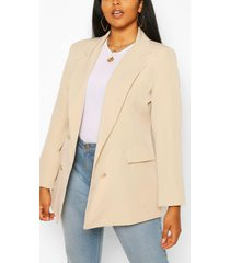 plus double breasted military blazer, stone