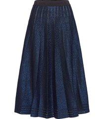 lurex pleated skirt knälång kjol blå karl lagerfeld