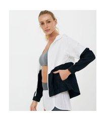 jaqueta esportiva corta vento colorblock com capuz | get over | branco | gg
