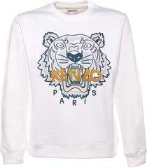 kenzo sweatshirt in white cotton