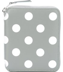 comme des garçons wallet polka-dot zipped wallet - grey