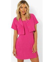 korte linnen blazer, hot pink
