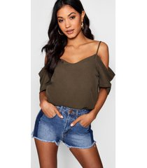 woven strappy open shoulder top, khaki