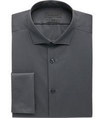 calvin klein gray slim fit french cuff stretch dress shirt