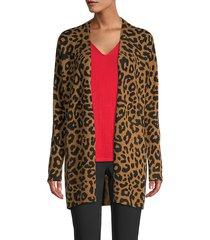 leopard cashmere cardigan sweater