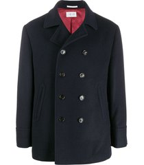 brunello cucinelli double-breasted midi coat - blue