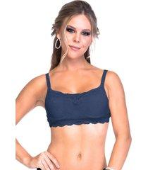 sutiã sempre sensual lingerie top renda bojo azul marinho