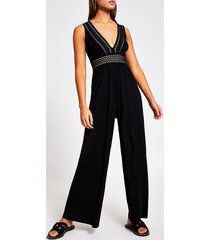 river island womens black elasticated plunge neck beach jumpsuit