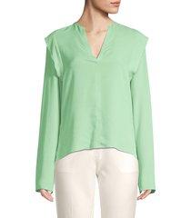 derek lam women's long sleeve ruffle silk blouse - pistachio - size 44 (8)
