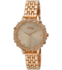 bob mackie women's pink alloy bracelet crystal bezel watch, 31mm