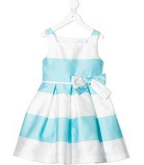 abel & lula striped bow-detail dress - white