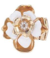anel armazem rr bijoux flor com cristais dourado - feminino