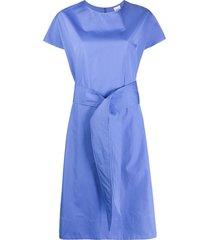 aspesi tie waist mid-length dress - blue