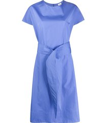 aspesi tie waist mid-length dress - blue