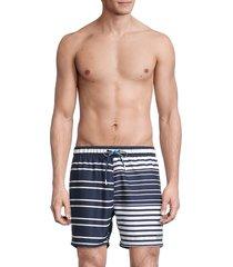 boss hugo boss men's glasfish striped swim shorts - blue - size s
