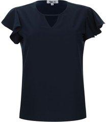 blusa m/c unicolor color azul, talla s
