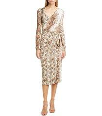 women's altuzarra snakeskin print long sleeve dress, size 6 us - beige