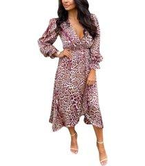 ax paris women's printed wrap midi dress