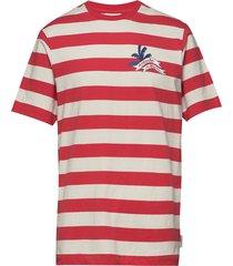 slub jersey tee with small chest artwork t-shirts short-sleeved röd scotch & soda