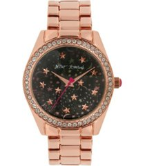 betsey johnson women's celestial starry rose gold-tone stainless steel watch 40mm