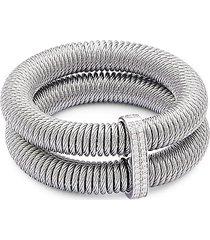 alor women's kai 18k gold & stainless steel diamond tiered coiled bangle bracelet