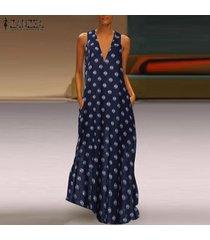 zanzea mujeres sin mangas del hombro del vestido largo maxi del cóctel camisa de vestir de tamaño extra grande -azul marino