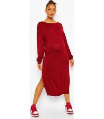 zwangerschaps gebreide midi jurk met ceintuur en zijsplit, wine