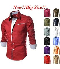 red men's casual slim fit long sleeve casual dress shirts autumn winter outwear