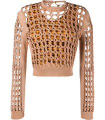 interlocked knit cropped top