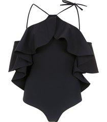 amir slama ruffled swimsuit - black